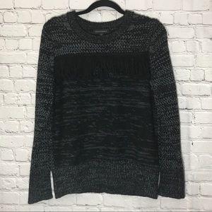 Banana Republic Black/Grey Fringe Sweater Small